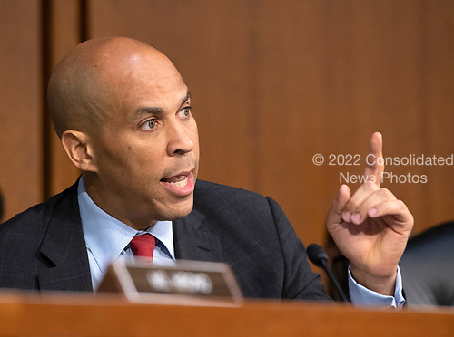 """United States Senator Cory Booker (Democrat of New Jersey) joins in the debate about the release of documents designated """"committee confidential"""" prior to the US Senate Judiciary Committee beginning the third day of testimony from Judge Brett Kavanaugh on his nomination as Associate Justice of the US Supreme Court to replace the retiring Justice Anthony Kennedy on Capitol Hill in Washington, DC on Thursday, September 6, 2018.<br /> Credit: Ron Sachs / CNP<br /> (RESTRICTION: NO New York or New Jersey Newspapers or newspapers within a 75 mile radius of New York City)"""