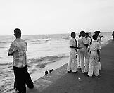 SRI LANKA Asia, Colombo, school boys standing by the beach in Colombo.