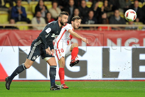 26.11.2016. Monaco, France. French League 1 football. Monaco versus Marseille.  Romain ALESSANDRINI (om) beaten by the shot from BERNARDO SILVA (asm)