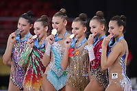 September 10, 2018 - Sofia, Bulgaria - Medalists lineup after event finals awards ceremony at 2018 World Championships. (L-R) Milena Baldassarri, Katsiaryna Halkina, Aleksandra Soldatova, Dina Averina, Arina Averina, Linoy Ashram.