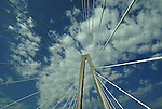 Tower and suspension cables of the Cooper River Bridge in Charleston SC.