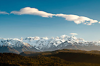 The Southern Alps with its highest peaks of nearly 3.800 m above sea level but still only 19km at places from the coastline - Westland National Park, West Coast, New Zealand