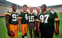 Dick Schaap in Lambeau Field with Green Bay Packers legends Reggie White, Brett Favre, Bart Starr and Willie Davis in 1997 to promote Dick's book, Green Bay Replay. Dick died in 2001.