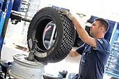 8th June 2017, Alghero, West Coast of Sardinia, Italty; WRC Rally of Sardina, Michelin tyres ready for fitting