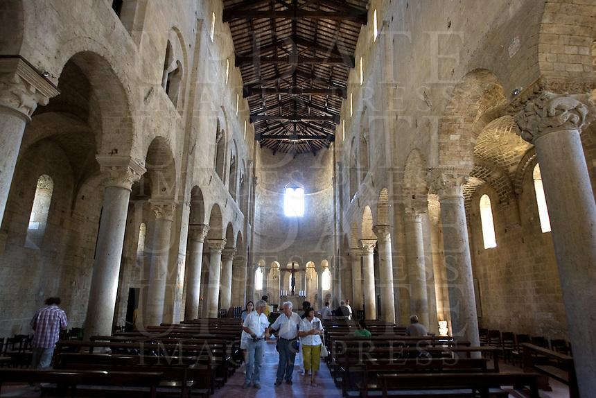 Interno dell'abbazia di Sant'Antimo.<br /> Interior of the abbey of Sant'Antimo.<br /> UPDATE IMAGES PRESS/Riccardo De Luca