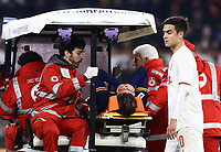 12th January 2020; Stadio Olympico, Rome, Italy; Italian Serie A Football, Roma versus Juventus; Nicolo Zaniolo of AS Roma  is taken from the pitch by cart after an injury