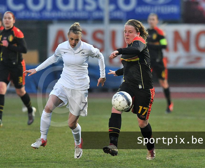 France U19 - Belgium U19 : duel tussen Lucinda Michez (rechts) en  Faustine Robert.foto DAVID CATRY / Nikonpro.be