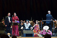 Jordi Galan, Montserrat Marti, Montserrat Caballe and her granddaughter Daniela, Ricardo Estrada<br /> Perfomance at State Kremlin palace, Moscow, Russia on June 06,  2018.<br /> **Not for sale in Russia or FSU**<br /> CAP/PER/EN<br /> &copy;EN/PER/Capital Pictures