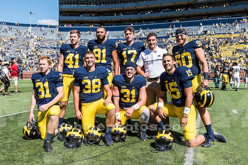 The University of Michigan football team beats the University of Hawaii, 63-3, at Michigan Stadium in Ann Arbor on Sept. 3, 2016.
