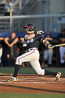 Second baseman Matt Gonzalez (1) of the Danville Braves bats in a game against the Johnson City Cardinals on Friday, July 1, 2016, at Legion Field at Dan Daniel Memorial Park in Danville, Virginia. Johnson City won, 1-0. (Tom Priddy/Four Seam Images)