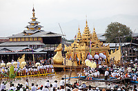 The annual Royal Barge Procession and Boat Races at Phaung Daw Oo Pagoda on Inle Lake