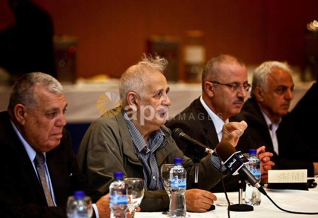 Committees of the leaders of Palestinian factions, meet with members of the Central Elections Commission as CEC officials prepare to begin work on updating the electoral register in the Gaza Strip, a key step to pave the way for elections on May 28, 2012. Photo by Ali Jadallah