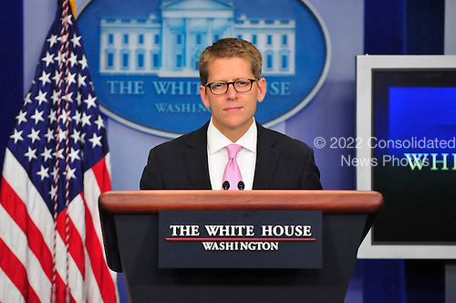 White House Press Secretary Jay Carney conducts his daily briefing in the Brady Briefing Room of the White House in Washington, D.C. on Tuesday, September 6, 2011..Credit: Ron Sachs / CNP