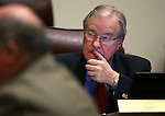 Nevada Sen. David Parks, D-Las Vegas, works in committee at the Legislative Building in Carson City, Nev., on Friday, Feb. 6, 2015. <br /> Photo by Cathleen Allison