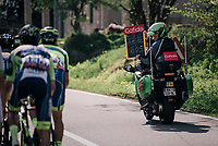 the ardoissier informing the breakaway group of their lead<br /> <br /> 104th Li&egrave;ge - Bastogne - Li&egrave;ge 2018 (1.UWT)<br /> 1 Day Race: Li&egrave;ge - Ans (258km)