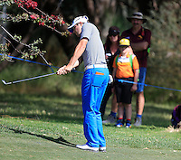 Pater Uihlein (USA) on the 1st during Round 1 of the ISPS HANDA Perth International at the Lake Karrinyup Country Club on Thursday 23rd October 2014.<br /> Picture:  Thos Caffrey / www.golffile.ie