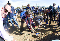 Earthquakes coach Frank Yallop breaks ground during Groundbreaking Ceremony at new stadium in Santa Clara, California on October 21st, 2012.  San Jose Earthquakes broke Guinness World Record for 6,256 people break ground on Quakes' new stadium.