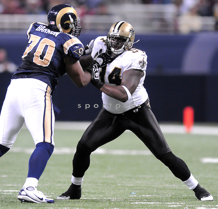 SAINTS @ RAMS.11/15/09CHARLES GRANT, of the New Orleans Saints in action  during the Saints game against the St. Louis Rams on November 15, 2009 in St. Louis Missouri...The Saints beat the Rams 28-23