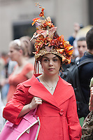 A 2011 New York City Easter Parade participant dressed for the occasion.