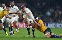 Tom Youngs of England is tackled by Adam Ashley-Cooper of Australia. Rugby World Cup Pool A match between England and Australia on October 3, 2015 at Twickenham Stadium in London, England. Photo by: Patrick Khachfe / Onside Images