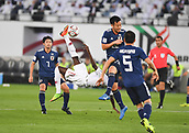 February 1st 2019; Adu Dhabi, United Arab Emirates; Asian Cup football final, Japan versus Qatar;  Almoez Ali of Qatar shoots to score with an overhead kick during the final match