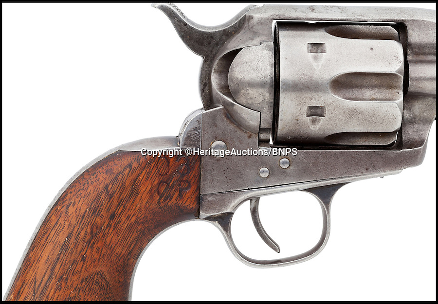 BNPS.co.uk (01202 558833)<br /> Pic: HeritageAuctions/BNPS<br /> <br /> ***Please use full byline***<br /> <br /> One of Buffalo Bill's favourite guns with which he used to wow crowds in his famous Wild West show has emerged for sale almost 100 years after his death.<br /> <br /> The legendary showman - real name William Cody - bought the six-shooter revolver in 1883, the same year he launched his circus-style travelling show.<br /> <br /> The 1873 Colt Frontier Six Shooter Revolver gun is being auctioned with starting price of $37,500 - around £22,000 - at Heritage Auctions in Dallas, Texas.<br /> <br /> A pistol used by Buffalo Bill when he was a scout for the US Army during the American Indian Wars sold for £143,000 in 2012.