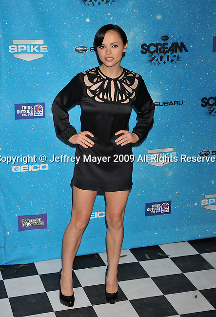 LOS ANGELES, CA. - October 17: Christina Ricci arrives at Spike TV's Scream 2009 held at the Greek Theatre on October 17, 2009 in Los Angeles, California.