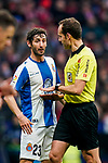 Esteban Felix Granero Molina of RCD Espanyol speaks with referee Mario Melero Lopez during the La Liga 2018-19 match between Atletico de Madrid and RCD Espanyol at Wanda Metropolitano on December 22 2018 in Madrid, Spain. Photo by Diego Souto / Power Sport Images