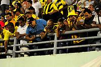 BARRANCABERMEJA- COLOMBIA - 09-03-2019: Hinchas de Alianza Petrolera, animan a su equipo, durante partido Alianza Petrolera y Deportivo Independiente Medellín, de la fecha 18 por la Liga Águila I 2019 en el estadio Daniel Villa Zapata en la ciudad de Barrancabermeja. / Fans of Alianza Petrolera, cheer for their team, during a match between Alianza Petrolera and Deportivo Independiente Medellin, of the 18th date for the Aguila Leguaje I 2019 at the Daniel Villa Zapata stadium in Barrancabermeja city. Photo: VizzorImage  / José D. Martínez / Cont.