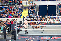 WWE Champion Jinder Mahal is thrown onto a table as he fights against Randy Orton at a WWE Live Summerslam Heatwave Tour event at the MassMutual Center in Springfield, Massachusetts, USA, on Mon., Aug. 14, 2017. Mahal lost the match.
