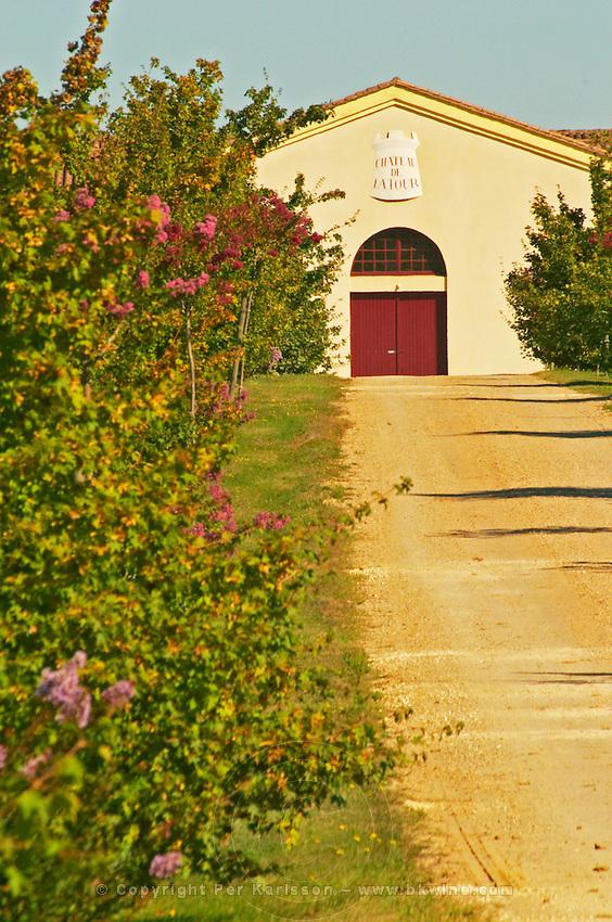 Vineyards, petit Verdot vines and the winery in the distance - Chateau de la Tour (or Clos de La Tour), Bordeaux, now Pey la Tour