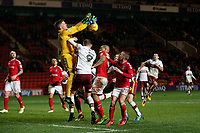 Charlton Athletic goalkeeper, Ben Amos, loses possession of the ball after a challenge from Bradford City's Charlie Wyke during Charlton Athletic vs Bradford City, Sky Bet EFL League 1 Football at The Valley on 13th February 2018