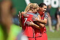 Portland, OR - Saturday July 15, 2017: Christine Sinclair, Lindsey Horan during a regular season National Women's Soccer League (NWSL) match between the Portland Thorns FC and the North Carolina Courage at Providence Park.