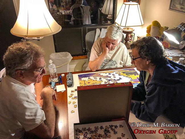 John, Betty & Debora Working On Puzzle