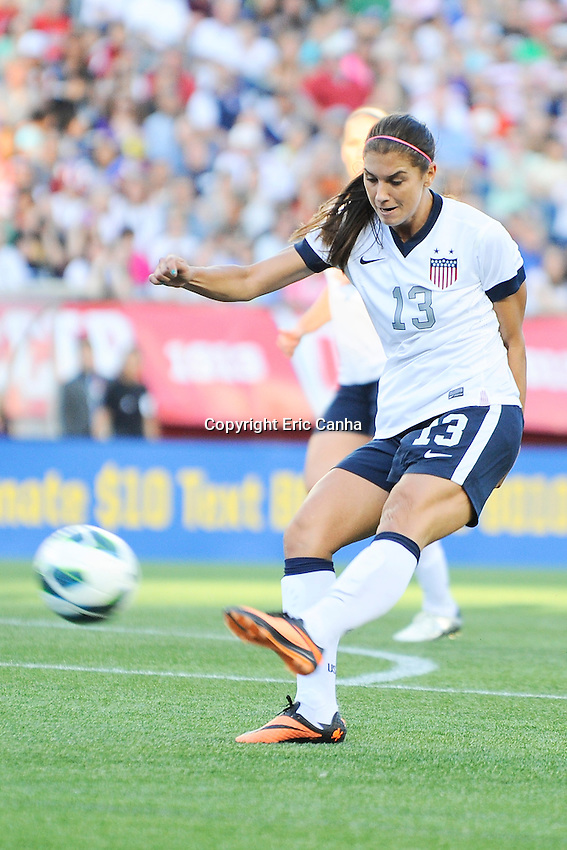 US Women's National forward Alex Morgan (13) in action during the International Friendly soccer match between the USA Women's National team and the Korea Republic Women's Team held at Gillette Stadium in Foxborough Massachusetts.   Eric Canha/CSM