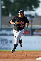 West Virginia Black Bears first baseman Carlos Munoz (56) runs the bases after hitting a home run during a game against the Batavia Muckdogs on August 30, 2015 at Dwyer Stadium in Batavia, New York.  Batavia defeated West Virginia 8-5.  (Mike Janes/Four Seam Images)