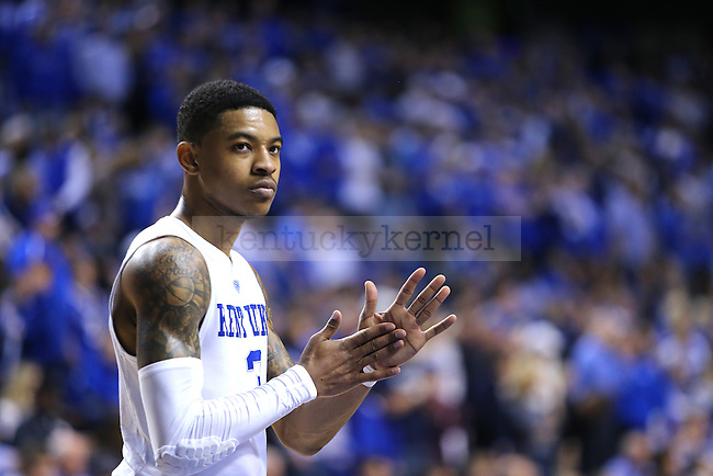 Guard Tyler UIis of the Kentucky Wildcats looks on during the game against the LSU Tigers at Rupp Arena in Lexington, Ky. on Saturday, March 5, 2016. UK defeated LSU 94-77 to finish the season 23-8. Photo by Michael Reaves   Staff.