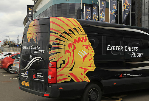 09.04.2016. Ricoh Arena, Coventry, England. European Champions Cup. Wasps versus Exeter Chiefs.  Exeter team equipment van in the south car-park ahead of the match
