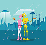 Robot couple sheltering under an umbrella during rain