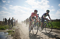 Tiesj Benoot (BEL/Lotto-Soudal) in the drops next to John Gadret (FRA/Movistar) on sector 14: Tilloy &agrave; Sars-et-Rosi&egrave;res (2.4km)<br /> <br /> 113th Paris-Roubaix 2015