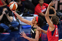 Washington, DC - Sept 17, 2019: Las Vegas Aces center A'ja Wilson (22) goes up for a lay up defenfed by Washington Mystics forward Tianna Hawkins (21) during WNBA Playoff semi final game between Las Vegas Aces and Washington Mystics at the Entertainment & Sports Arena in Washington, DC. The Mystics hold on to beat the Aces 97-95. (Photo by Phil Peters/Media Images International)