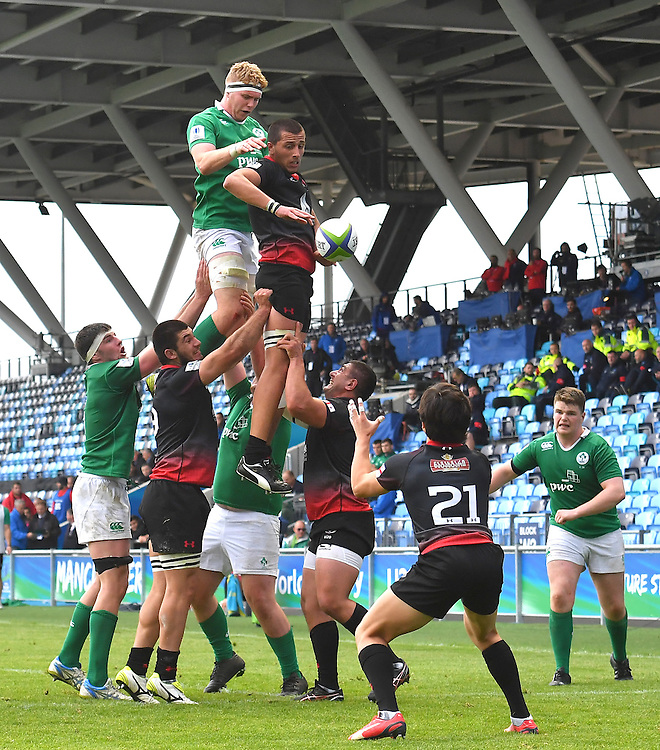 Ireland's Cillian Gallagher is beaten to the ball<br /> <br /> Photographer Dave Howarth/CameraSport<br /> <br /> International Rugby Union - U20 World Rugby Championships 2016 - Pool B - Match 17 - Pool A Ireland U20 v Georgia U20 - Wednesday 15th June 2016 - Manchester City Academy Stadium - Manchester<br /> <br /> World Copyright &copy; 2016 CameraSport. All rights reserved. 43 Linden Ave. Countesthorpe. Leicester. England. LE8 5PG - Tel: +44 (0) 116 277 4147 - admin@camerasport.com - www.camerasport.com<br /> <br /> Photographer Stephen White/CameraSport<br /> <br /> International Rugby Union - U20 World Rugby Championships 2016 - Pool C France U20 v Argentina U20 - Match 1 - Tuesday 07th June 2016 - AJ Bell Stadium - Salford - England<br /> <br /> World Copyright &copy; 2016 CameraSport. All rights reserved. 43 Linden Ave. Countesthorpe. Leicester. England. LE8 5PG - Tel: +44 (0) 116 277 4147 - admin@camerasport.com - www.camerasport.com