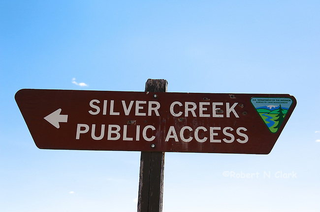 Public access sign on Cutoff Rd showing the way to lower Silver Creek