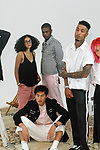 Models pose in outfits from the Life In Perfect Disorder Spring Summer 2018 collection, for New York Mens Day at Dune Studios on July 10, 2017; duing New York Fashion Week: Mens Spring Summer 2018.