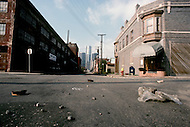 Detroit. U.S.A, September, 1980. America severely marked by the recession. Desserted streets downtown Detroit, in the city most severely struck by the economic depression. The landmark General Motor building seen in the background.
