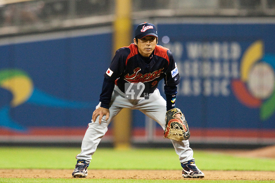 18 March 2009: #9 Michihiro Ogasawara of Japan is seen on defense during the 2009 World Baseball Classic Pool 1 game 5 at Petco Park in San Diego, California, USA. Japan wins 5-0 over Cuba.