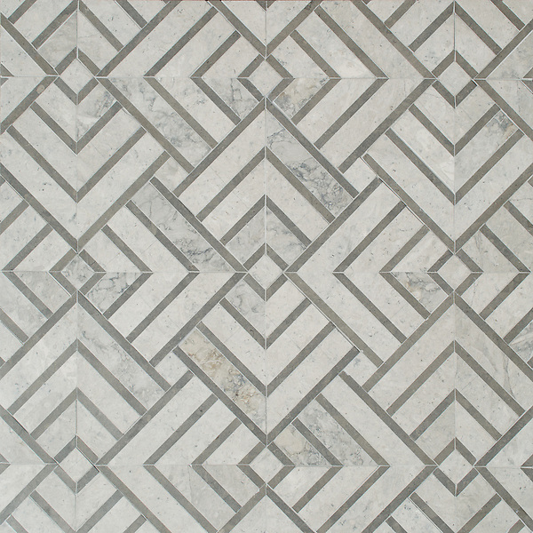 Delaunay, a hand-cut stone mosaic, shown in honed Palomar and Montevideo, is part of the Palazzo collection by New Ravenna.