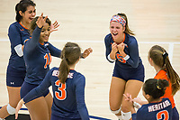NWA Democrat-Gazette/BEN GOFF @NWABENGOFF<br /> Rogers Heritage celebrates a point in the 4th set vs Bentonville West Thursday, Sept. 13, 2018, at War Eagle Arena in Rogers.