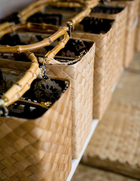 Handmade lauhala purses, made of woven hala tree leaves, at the Kimura Lauhala Shop in Kona, Hawaii. Photo by Kevin J. Miyazaki/Redux