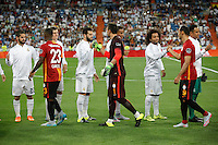 Real Madrid´s Isco, Kroos, Nacho and Marcelo greet Galatasaray´s players during Santiago Bernabeu Trophy match at Santiago Bernabeu stadium in Madrid, Spain. August 18, 2015. (ALTERPHOTOS/Victor Blanco)